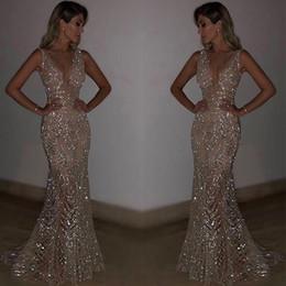 Vestido de noche vestidos de ocasión especial online-Bling lentejuelas lentejuelas sirena vestidos de noche 2019 cuello en V profundo vestidos largos largos de fiesta vestidos para ocasiones especiales