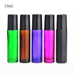 Wholesale Perfume Oz - 10 ml 1 3 oz Empty Colorful Thick Roll On Glass Bottle Fragrances Essential Oil Perfume Bottle With Metal Roller Ball LX1120