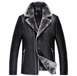 Wholesale Leather Motorcycle Suits - Men's Suit Collar Fur Leather Jacket With A Leather Jacket With A Plush Man's Motorcycle Fur Coat