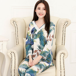 752edb8957 Spring Sexy V-neck Pajamas Set Elegant Women Floral Sleepwear Pajama Sets  Pijamas Mujer Woven Cotton Pyjamas Home Clothing 3XL