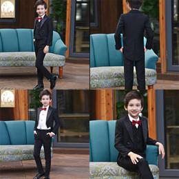 cravatta di harris tweed Sconti Nuovo arrivo Black Boy Wedding Tre Tie Tie Custom Made Slim Fit Prom formale Prom Tuexdos