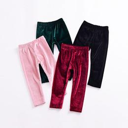 Wholesale Wholesale Tights Leggings Children - Baby girls Gold velvet pants INS Leggings children Trousers 2018 new fashion Tights kids Boutique Clothing C3647