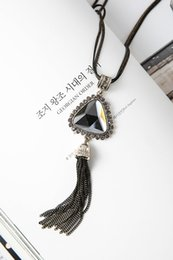Wholesale Triangle Tassel Necklace - Women Fashion Pendant Necklaces elegant triangle crystal tassel Necklaces long sweater chain Statement Charm Jewelry Patry Gift Accessories