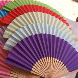 Wholesale Blank Fans - Color paper fan Blank folding Children's painting fan DIY handmade preschool articles Colour rainbow fan T4H0237