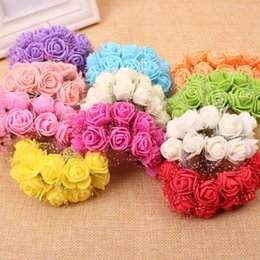 Wholesale Pink Foam Rose Flower - Hot sale 144pcs lot Mini Foam Rose Flower Artificial Flower Multicolor PE Lace Rose Bouquet Wedding Decor Craft
