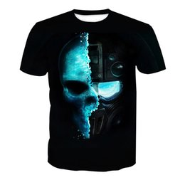 solid men t shirt full sleeve Promo Codes - Men T-shirt Skull 3D Full Print Man Casual Tops Unisex Short Sleeves Digital Graphic Tee Shirt Tees T-Shirts Blouse (RLT-4169)