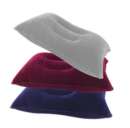 Wholesale Neck Travel Pillow Memory - Hot Sale Outdoor Camping Portable Folding Air Inflatable Pillow Double Sided Flocking Cushion for Travel Plane Hotel
