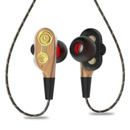 Wholesale mobile phone horn - JFbest JF-520 stereo earbuds double dynamic headphone headset 3.5mm earphone four horn for mobile phone