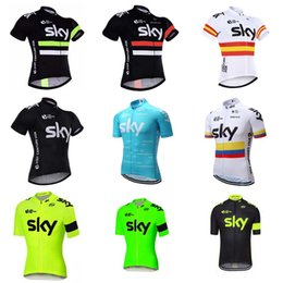 Wholesale Team Sky Pro Cycling Jersey - SKY 2018 Pro Team Cycling Jersey Bike Clothing Breathable Short Sleeve MTB Mountain Bike Jersey Bicycle Clothing Men C1411