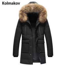 Wholesale Parka Men Big Fur - KOLMAKOV 2017 new winter high quality men's fashion long hooded big fur collar down jacket,90% white duck down coats parkas men.