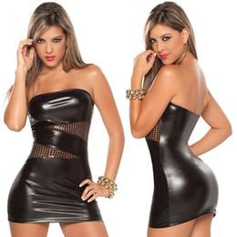 2019 sexy vestido de wetlook Sexy PU de cuero de imitación erótico Wetlook Backless fuera del paquete del hombro vestido corto de la cadera del remiendo mujeres Pole Dance DS Clubwear traje Y18102206 rebajas sexy vestido de wetlook