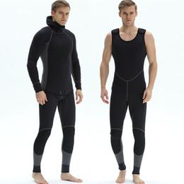 25a9cc8b5c 2018 3mm men s neoprene diving wetsuit 2 pieces diving suit Black  spearfishing wetsuit scuba snorkelling diving equipment