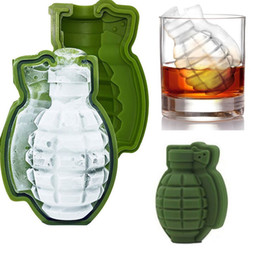 Wholesale Ice Cream Drinks - New Fashion 3D Grenade Shape Ice Cube Mold Ice Cream Maker Party Drinks Silicone Trays Molds Kitchen Bar Tools Top Quality