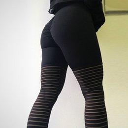 Wholesale High Waist Mesh Leggings - Women's Leggings High Waist Push-Up Hip Stripe mesh Panel Compression Stretchy Yoga Workouts Running pants Capri Tight