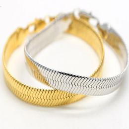 Широкая плоская змея кости цепи золото заполнены плотной елочка цепи ссылка браслет для мужчин классический мужской браслет хип-хоп fine jewel от