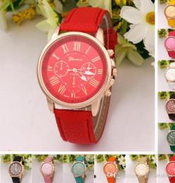 Canada Mode Genève Montre Montre de Sport Chiffres Romains Faux cuir quartz Exquis poignet Pour Femmes De Luxe Out0741 cheap exquisite watches Offre