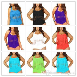 38bbca2367c Newest Summer Plus Size Tassels Bikinis High Waist Sexy Women Bikini  Swimwear Padded Boho Fringe Swimsuit 7 Colors