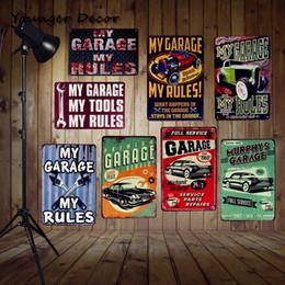 Aceite de coches de época online-Mi Garaje Mis Herramientas Reglas Vintage Home Decoración de Pared Pub Bar Casa Coche Gas Oil Cartel de Estaño Retro Placa Colgante Signos de Metal YA100