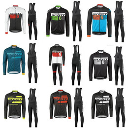 Wholesale mountian bikes - Crossrider 2017 TEAM SCOTT Long Cycling Jersey bib set MTB Breathable Mountian pro Bicycle Clothing Bike wear clothes Maillot Ropa Ciclismo