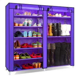 Wholesale Shoe Cabinet Rack - Double Rows 9 Lattices Combination Style Shoe Cabinet Organizer Rack Purple