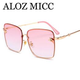 d360f6b21e2 unique frames Promo Codes - ALOZ MICC 2018 Unique Small bee Square Sunglasses  Women Men Brand