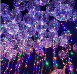 Wholesale Halloween Balloons Wholesale - New Light Up Toys LED String Lights Flasher Lighting Balloon Wave Ball 18inch Helium Balloons Christmas Halloween Decoration Toys