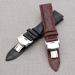 Wholesale 16mm Watch Strap - Steel clasp 16mm 18mm 20mm 22mm Watch Band Strap Push Button Hidden Clasp Butterfly Pattern Deployant Clasp Buckle Leather black Brown