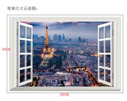 Wholesale wall stickers paris - Paris Tower French Night Views 3D Wall Sticker For Bedroom Room Home Decor Self Adhesive Art Home Decor Mural Sticker Muraux