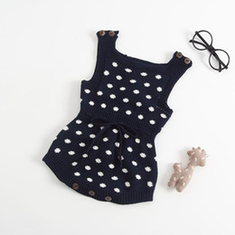 polka dot baby bodysuit Promo Codes - Wholesale Autumn New Baby Girl Boy Bodysuit Polka Dot Sweater Knitted Cotton Clothes Sleeveless Baby Jumpsuit Navy Brown E8313