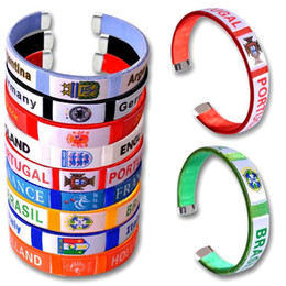Wholesale hockey team gifts - 2018 Russia World Cup Designer Bracelet Souvenirs Perimeter Gift National Team Embroidery Thread Wristband Football Flag Fan Bangle 16xq WW