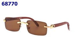 Wholesale Handmade Wood Frames - New Sunglasses Fashion Men Women Rimless Sun glasses Handmade Bamboo Arms Glasses Gold Wood Glasses Frames Eyewear