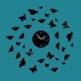 Papillon horloge murale design moderne en Ligne-Creative 3D DIY Reloj De Pare papillon art mode europe design décoration de la maison moderne acrylique quartz aiguille miroir horloge murale