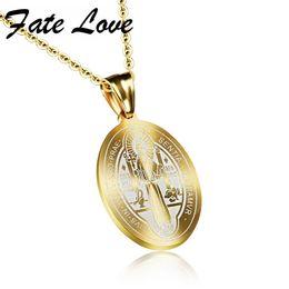 Wholesale Catholic Religious Jewelry Wholesale - whole saleFate Love Catholic Saints Saint Benedict Pendant Gold Color Stainless Steel Religious Catholic Pendant Necklace Jewelry FL1067
