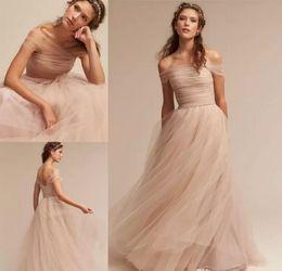 Wholesale Sheer Nude Color Dress - Nude Tulle Beach Summer Beach Wedding Dresses 2018 Zipper Back Cheap Full Length Wedding Bridal Gowns Bohemian Formal Dresses For Wedding