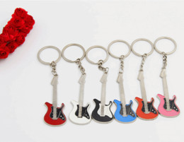 Wholesale guitar man - Creative Guitar Keychain Music Festival Musical Instrument Jewelry Pendant Keyring Gift Activity Customized Support FBA Drop Shipping G785R