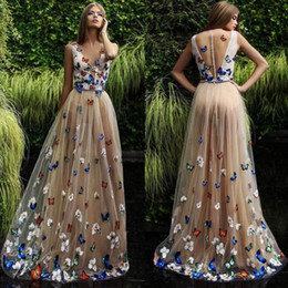 Wholesale Butterfly Long - Butterfly And Flower Prom Dresses 2018 Sheer Neck Sleeveless Long Evening Gowns Back Covered Buttons Arabic Formal Party Dress Custom Made
