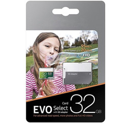 Wholesale 16gb memory - 100% Brand New Gray Green EVO Select 32GB 64gb 128gb 256gb TF Flash Memory Card Class 10 Free SD Adapter Retail Blister Package