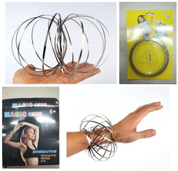 Wholesale Big Wristbands - Stainless Steel Toy Magic Toroflux Flow Wristbands Flow Ring Toys Kinetic Spring Toy Funny Outdoor Game Intelligent Toy DHL Free Shipping