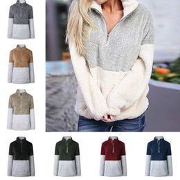 Übergroße sweatshirts online-Sherpa Pullover Frauen Winter Fleece Hoodies Sweatshirt Übergroße V-Ausschnitt Reißverschluss Pullover Langarmshirts Patchwork Herbst Hoodie 4 Farbe