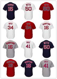 Wholesale Boston Sales - Men's Boston Jersey David Ortiz Dustin Pedroia Mookie Betts Andrew Benintendi Chris Sale Pedro Martinez Bradley JR Baseball Jerseys