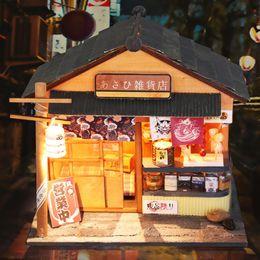 Giapponese in miniatura online-Fai da te DollHouse con mobili 3D in legno Miniatura casa delle bambole fatti a mano Mini elegante regalo in stile giapponese negozio di alimentari D035 #D