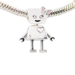 2018 nova primavera 925 sterling silver bella robô charme rosa esmalte  talão serve pandora pulseira diy para mulheres jóias acessórios ae1794ac586