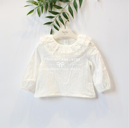 Wholesale Girls White Long Sleeve Blouse - 2018 INS spring NEW arrival Girls Kids solid color long Sleeve cute doll round lace collar shirt kids causal high quality cotton white shirt