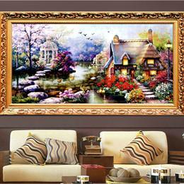 pintura combinada Rebajas Combinado Nuevo Hot Diy 5d Diamond Mosaic Landscapes Garden Lodge Full Diamond Painting Stitch Kits Diamond Embroidery Home Decoration