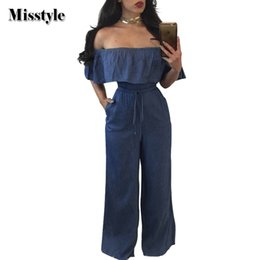 Deutschland Misstyle Casual Falbala Slash Neck lange lose Frauen Denim Jumpsuit aus der Schulter Schärpen Top lange Hosen Damen Romper Overall cheap pant ladies jumpsuits Versorgung