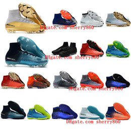 Wholesale Cheap Mens Soccer Cleats - 2018 mens soccer cleats Mercurial Superfly V Ronalro FG indoor soccer shoes kids football boots cr7 boys neymar boots Rising Fast Pack cheap