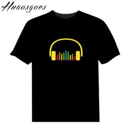 Wholesale Light Brown Shirt Men - LED Cotton Short T Shirt Light Up and down Flashing Equalizer EL T-Shirt Men for Rock Disco Party DJ sound activated style