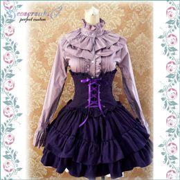 Vestido lolita gótico sin mangas online-Gothic Lolita Dress SK Lavender de cintura alta, con cordones volantes Lolita falda! Vestido sin mangas ! ¡El más nuevo!