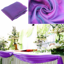 wedding table skirting swag Promo Codes - wedding decoration cadbury purple 10M*1.35m Organza fabric Wedding Decoration top curtain Party Chair Sash Bow Runner Swag table skirt