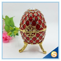 Wholesale Faberge Gifts - Wholesale-Fashion Easter Metal Crafts Gifts Faberge Egg Trinket Box Egg Shaped Jewelry Box for Women